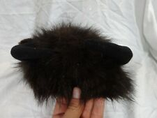 Vintage BUFFALO With Horns Faux FUR Costume HAT