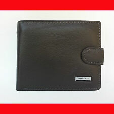 Genuine Leather Mens Dark Brown Slim Bifold Wallet Coin Purse Card Holder