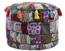 Green Indien Floor Pouf Ottoman Pouffe Cotton Foot Stool Moroccan Pillow Decor