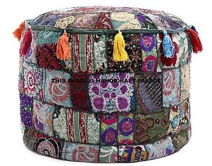 Green Indien Floor Pouf Ottoman Pouffe Cotton Foot Stool Moroccan Pillow Decor