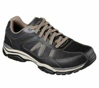 Skechers Black shoes Men Memory Foam Sporty Casual Comfort Leather Oxford 65418