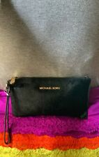 Michael Kors Bedford Black Calf Hair Leather Credit Card Zip Clutch Wristlet