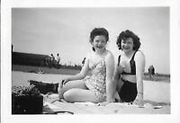 SWIMSUIT GIRLS Vintage FOUND PHOTO bw PRETTY BEACH WOMEN Original Snapshot 07 20