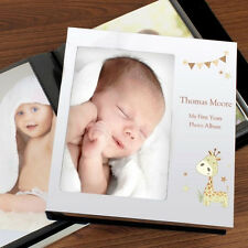 Personalised Hessian Giraffe Photo Frame Album - 1st Birthday, Christening Baby
