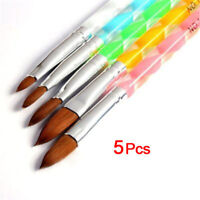 5pcs Pro Round Sable Acrylic Nail Art Brush Liquid Powder Size 4 6 8 10 12 Set
