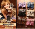 New Fashion Women Real Rabbit Fur Hand Wrist Warmer Fingerless Winter Gloves