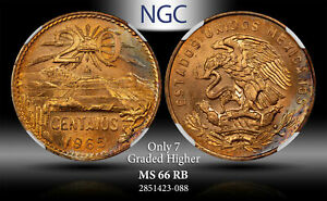 1965-Mo MEXICO 20 CENTAVOS NGC MS66 RB ONLY 7 GRADED HIGHER