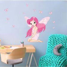 Fairy Girl with Butterfly Sticker Children Room Wall Decals Art Kids Decor fs