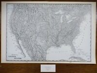 """Vintage 1900 TOPOGRAPHICAL UNITED STATES Map  22""""x14"""" ~ Old Antique Original USA"""