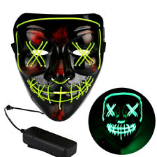 4-Modes Scary Mask Cosplay Led Costume Mask EL Wire Light Up for The Purge Movie