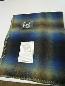 """Woolrich """"Fawn Grove"""" Thin Wool Blanket Toss - GREAT Blue + Green Coloration 56"""""""