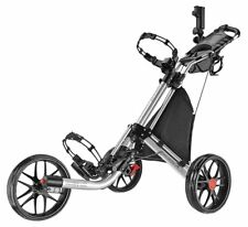 Silver CaddyTek CaddyLite EZ-Fold 3 Wheel Golf Push Cart