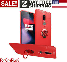 OnePlus 6 Case Ring Stand Slim Phone Cover Kickstand Fit Magnetic Car Mount Red