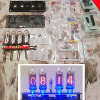 DIY KIT With Tubes Nixie Clock IN-14+IN3 RGB Backlight Alarm *PCB, Tubes, Parts*