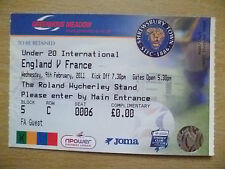 Ticket- Under 20 International- ENGLAND v FRANCE, 9 Feb 2011