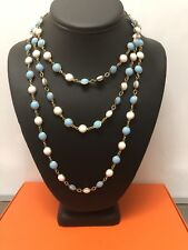 Vintage Collectible Blue/White Glass Chain Necklace