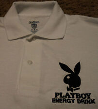 Men's PLAYBOY Energy Drink Embroidered White Polo Shirt NWOT Play Boy Medium