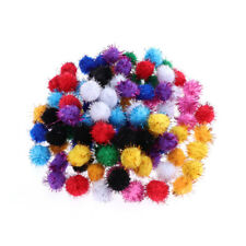 100pcs Sparkle Fluffy Ball Cat Toy Tinsel Pom Poms Glitter Interactive Toy 20mm