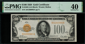 1928 $100 Gold Certificate FR-2405 - Graded PMG 40 - Extremely Fine