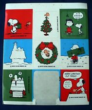 VINTAGE PEANUTS SNOOPY CHRISTMAS STICKERS 1 SHEET 8 STICKERS