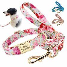 Personalized Dog Collar Leash Set Nylon Customized Pet Puppy Engraved Nameplate