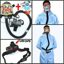 Powered Supplied Air Fed Full+Half Face Mask Breathing Respirator Kit System
