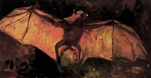 Flying Bat Vincent Van Gogh Fine Art Giclee Rolled Canvas Print 29x17 in.