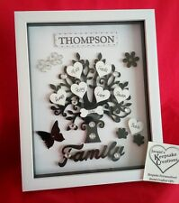 PERSONALISED  FAMILY TREE FRAME BLACK MOTHERS DAY PICTURE GIFT KEEPSAKE HOME BOX