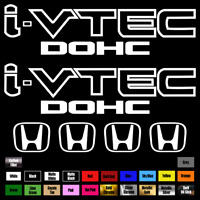 "(2)x i-VTEC DOHC 9"" PLUS (4)x 2"" emblem Vinyl Sticker Honda Civic Decal"