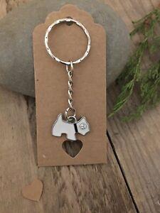 White Westie Dog Key Ring Gift