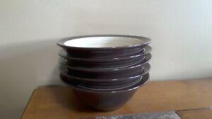 "Broyhill Attic Heirloom Brown 7"" Soup Salad Bowls, Tan Embossed Rings Lot of 5"