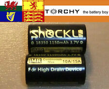 2x 15A ShockLi IMR 18350 Flat Top 1150mAh 3.7v Li-Ion batteries +case