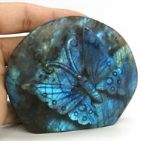 Butterfly Figurine Natural Labradorite Carved Animal Statue Home Ornament Gift