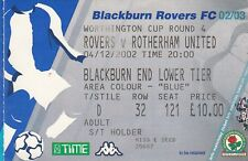 Billete-Blackburn Rovers v Rotherham United 04.12.02 Taza de Liga