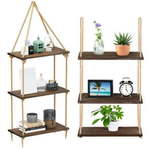 Sturdy 3-Layer Hanging Wall Shelf Rope Floating Shelves Kitchen Apartment Office