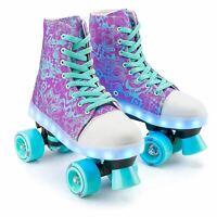 Xootz Canvas Boot Quad Roller Skates for Kids with LED Lights - Size 12