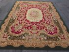 Vintage Hand Made French Design Wool Green Red Large Original Aubusson 307X242cm