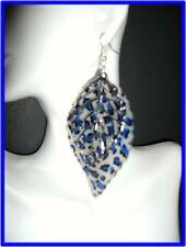 New Basketball Wives Inspired Silver Earring Leaf ,White & Black ,Blue Appr4.5'