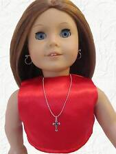 Doll Size Necklace Silver Cross made for 18 inch American Girl