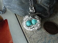 BIRD NEST 2 EGGS NECKLACE WITH MAMA BIRD  Silver AND TURQUOISE BEADS