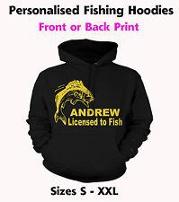 Fishing Hoodie Licensed to Fish - Personalised Hoody,  Custom Printed Hoodies,