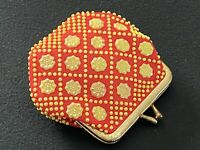 Vintage Beaded Coin Purse 1960s Geometric Retro Red Kiss Lock Clamshell Change