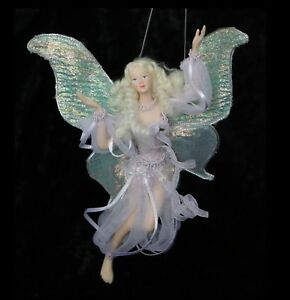 FAIRY #3 Flying in Lilac fabric dress with Beautiful Wings and flowing hair