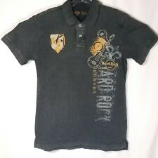 Hard Rock Cafe Moscow Distressed Embroidered Mens Polo Shirt Small