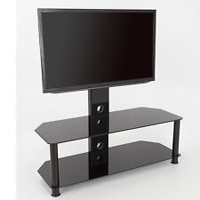 """Black Glass TV Stand With TV Mount Wall Bracket for 32 - 65"""" inch - 114cm"""