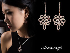 Micro pave Cubic Zirconia knot symbol Rose gold plate Wedding Bride Earrings A20