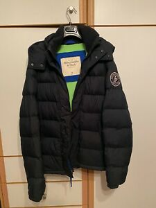 Abercrombie & Fitch Men's Puffer Jacket with Hood Black XL
