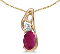 14k Yellow Gold Oval Ruby and Diamond Pendant (no chain) (CM-P2590X-07)
