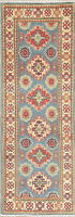 Vegetable Dye Geometric Super Kazak Oriental Runner Rug Wool Hand-knotted 2'x6'