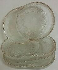 Jeannette Glass Harp Pattern Coasters / Ashtrays Teacup Bag Holders Gold Trimmed